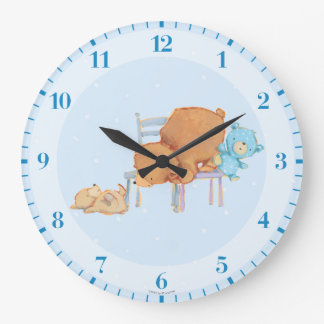 Big Brown Bear, Calico, & Floppy Share Two Chairs Large Clock