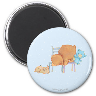 Big Brown Bear, Calico, & Floppy Share Two Chairs Fridge Magnets