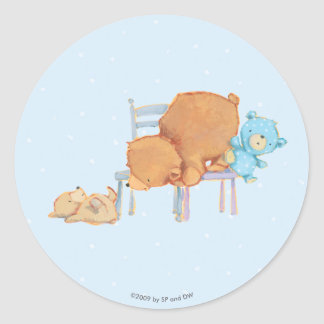 Big Brown Bear, Calico, & Floppy Share Two Chairs Round Sticker