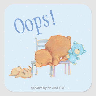 Big Brown Bear, Calico, & Floppy Share Two Chairs Square Sticker