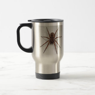 big brown scarygothic looking spider travel mug