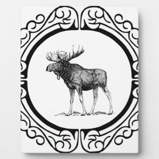 big bull moose art plaque