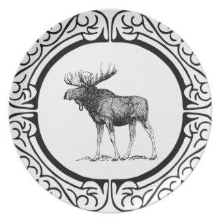 big bull moose art plate