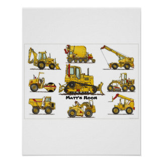 Big Bulldozer Construction Equipment Poster Print