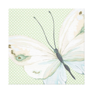 Big Butterfly on Polka Dots Canvas Print