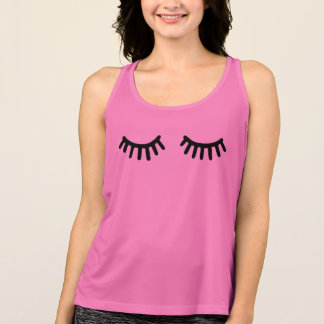 big cartoon girly lashes singlet