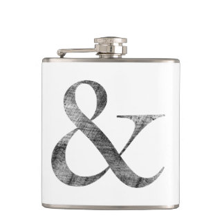 Big Caslon Medium Black Letterpress Grain Hip Flask