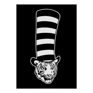 Big Cat in Striped Top Hat Poster