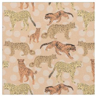 Big Cats On Peach Polka Dots Fabric
