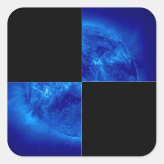 BIG Checkered Flag 1 The Square Blue Sun Sticker