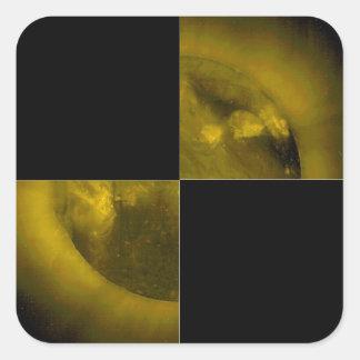 BIG Checkered Flag 1 The Square Yellow Sun Sticker