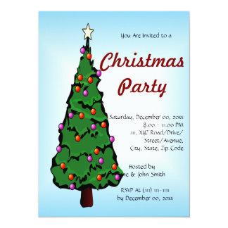 "Big Christmas Tree on a Blue Background 5.5"" X 7.5"" Invitation Card"
