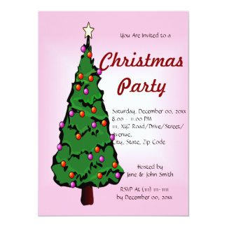 """Big Christmas Tree on a Pink Background 5.5"""" X 7.5"""" Invitation Card"""