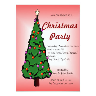 """Big Christmas Tree on a Red Background 5.5"""" X 7.5"""" Invitation Card"""