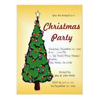 "Big Christmas Tree on an Orange Background 5.5"" X 7.5"" Invitation Card"