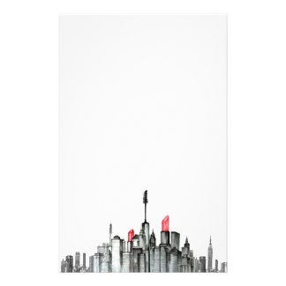 Big City Skyscraper Skyline with Makeup Stationery