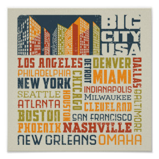 Big City USA Typography Collage Poster