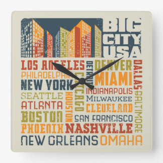 Big City USA Typography Collage Square Wall Clock