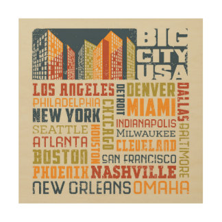 Big City USA Typography Collage Wood Canvases