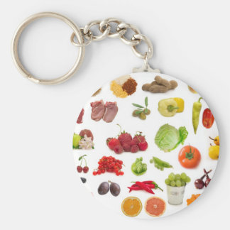 big collection of fruits and vegetables basic round button key ring