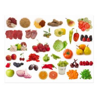 big collection of fruits and vegetables postcard