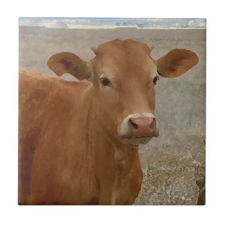 Big Cow Eyes - Red Cattle Small Square Tile