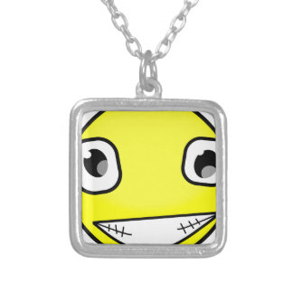 Big Crazy Smile Silver Plated Necklace