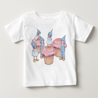 Big Cupcakes with Gnome Children, Pink Icing Baby T-Shirt