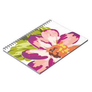 Big Dahlia Floral Spiral Note Books