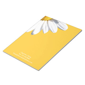 Big Daisy On Yellow Background Personalized Notepad