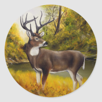 Big Deer standing in grove on customizable product Classic Round Sticker