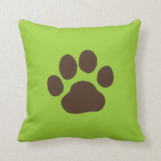 Big Dog Paw Print with Custom Background Color Throw Cushion