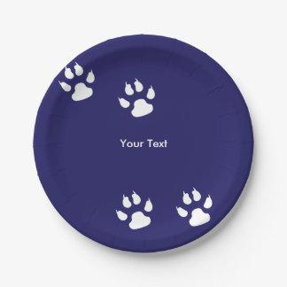 Big Dog Paw Prints on Blue Paper Plate