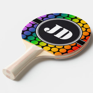 BIG DOTS colored + your backgr text Ping Pong Paddle