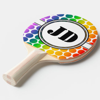 BIG DOTS colored + your backgr. & text Ping Pong Paddle