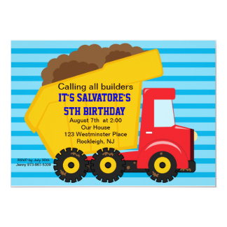 Big Dump truck Boys Birthday Invitation