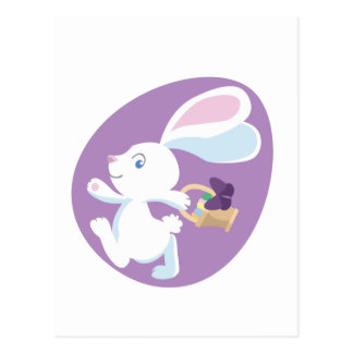 Big-Eared Easter Bunny in Purple Egg Postcard