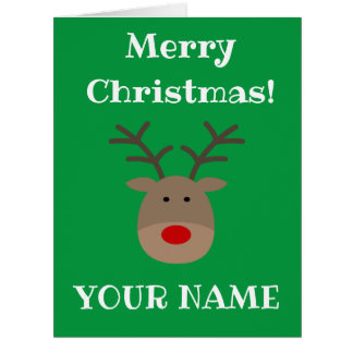 Big extra large Christmas card with cute reindeer