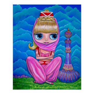 Big Eye Genie Doll Belly Dancer with Magic Bottle Poster