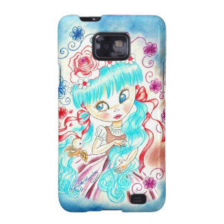 Big Eye Girl With Blue Hair and Birds Galaxy S2 Cases