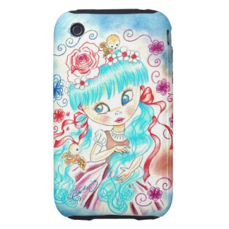 Big Eye Girl With Blue Hair and Birds Tough iPhone 3 Case
