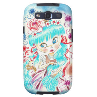 Big Eye Girl With Blue Hair and Birds Galaxy S3 Cover
