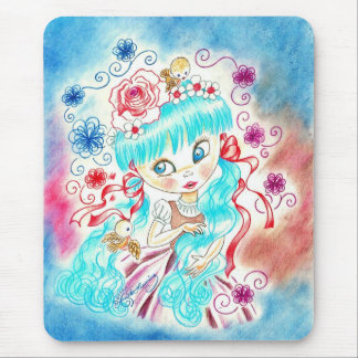 Big Eye Girl With Blue Hair and Birds Mouse Pad