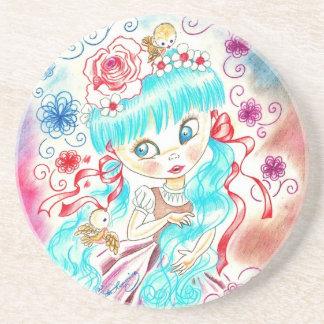 Big Eye Girl With Blue Hair, Swirls and Birds Beverage Coasters