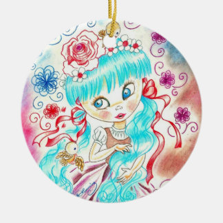 Big Eye Girl With Blue Hair, Swirls and Birds Christmas Tree Ornaments
