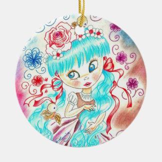 Big Eye Girl With Blue Hair, Swirls and Birds Round Ceramic Decoration