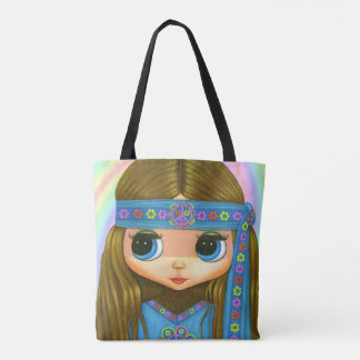 Big Eye Hippie Chick Girl Peace Sign '60s '70s Tote Bag