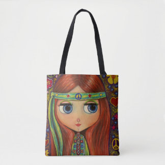 Big Eye Hippie Girl Green Headband Peace Sign Cute Tote Bag