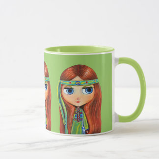 Big Eye Hippie Girl in Green with Peace Sign