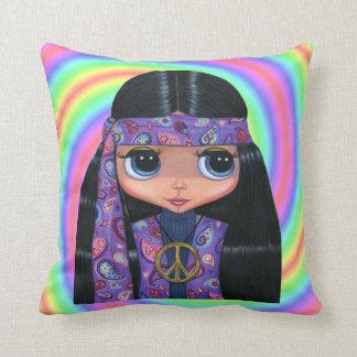 Big Eye Hippie Girl in Purple Paisley Cushion